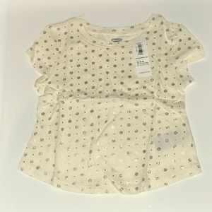 Cream and gold short sleeve T-shirt